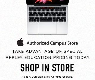 Picture of a MacBook. Apple authorized campus store: take advantage of low Apple education pricing today. Shop in store. Click to learn more.