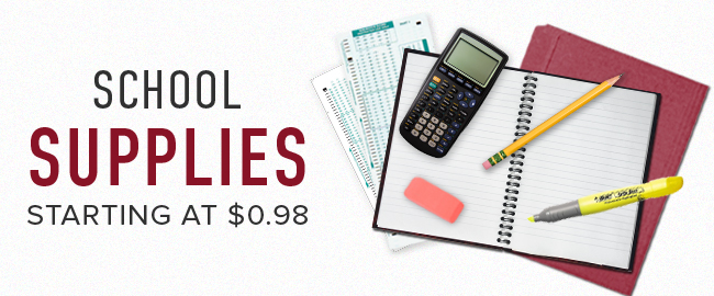 Picture of school supplies. School Supplies starting at $0.98. Click to shop now.